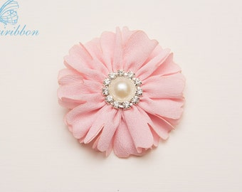 pink flower hair clip -  chiffon girl flower hair bow