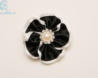 flower hair clip - black and white ribbon hair bow 104