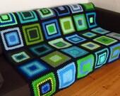 "Blue Crochet Blanket Green Crochet Afghan 50""x60"""