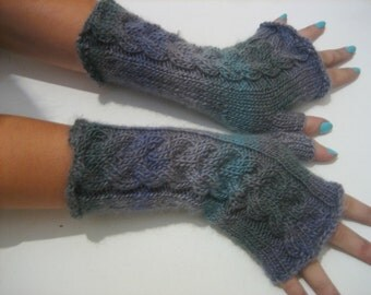 ready to ship!fingerless gloves, women gloves multicolored gloves Knitted Fingerless  with Cable, Woman, Handmade, Winter Half Gloves