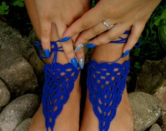 Barefoot Sandals, Blue Crochet Sandals, Sexy Foot Jewelry, Yoga Shoes, Foot Thongs, Nude Shoes, Lace Sandles