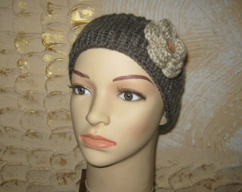 Women knitted headband with flower. Knitted headband with wooden button. Knit ear warmer. Ready to ship.