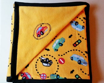 Cars Baby Blanket - Personalized Toddler Blanket - Yellow Baby Blanket - Baby Shower Gift - Car Blanket