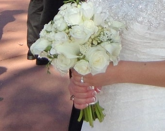 White Roses Bridal Bouquet Wedding Flowers