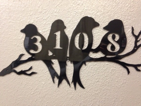 Black Bird House Numbers