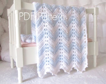 Crochet Blanket PATTERN 55 - Chevron Series - Baby Blanket PATTERN 55 - Blue and White - Instant Download PDF