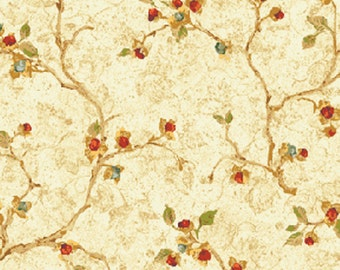 """19"""" REMNANT Bittersweet - Bittersweet in Cream - Cotton Quilt and Home Decor Fabric - Designed by Nancy Halvorsen for Benartex (W936)"""