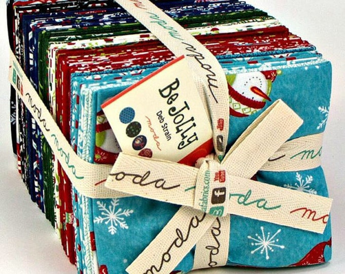 FREE U.S. Shipping - Be Jolly Fat Quarter Bundle - 36 Pieces Cotton Fabric including 2 Panels - by Deb Strain for Moda - 19670AB (W1956)