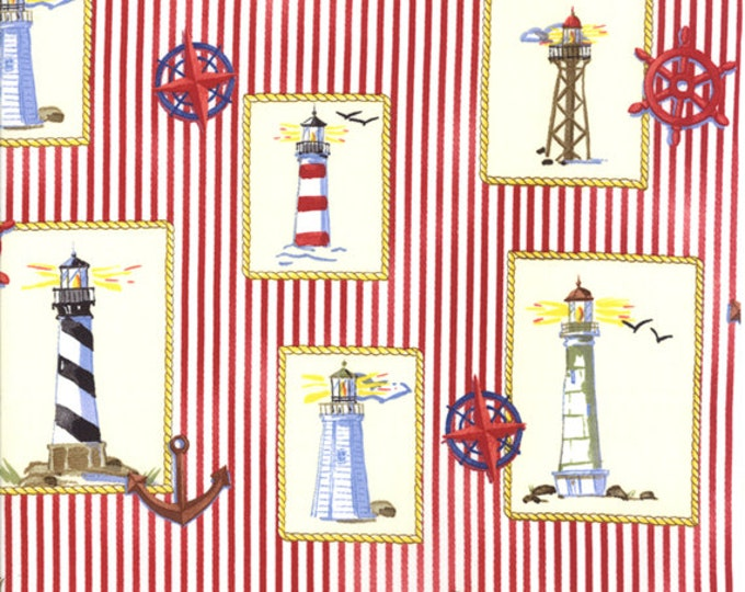 Fat Quarter Beacon Cove - Lighthouses in Red Coral - Novelty Beach Cotton Quilt Fabric - from Paul Brent for Moda - 39011-15 (W2049)