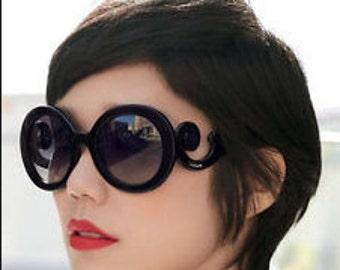 Designer Inspired Black Baroque Sunglasses
