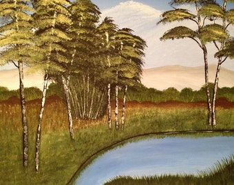 Birch tree painting,tree painting,16x20,lake painting,landscape painting,canvas art,scenery painting,art,painting