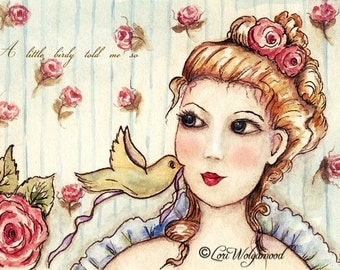 ACEO - A Little Birdy Told Me So - Watercolor - Art Print