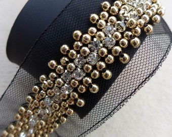 "1.85"" Beaded Lace Trim in Gold, Rhinestone Trim For Bridal, Headbands, Jewelry, Costumes, Crafts"