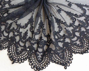 """Vintage Black Embroidery Lace 11"""" Wide Cotton Tulle Lace Fabric Trim Bridal dresses Lace ONE yard"""