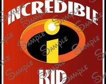 DIGITAL DIYprintable Incredible Kid with Incredibles Logo file