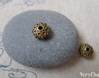 30 pcs Antique Bronze 3D Rondelle Flower Spacer Beads 4x8.5mm Double Sided A7062