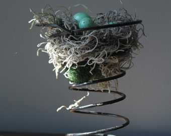 Vintage Bed Spring Birds Nest, House Warming Gift, Home Decor