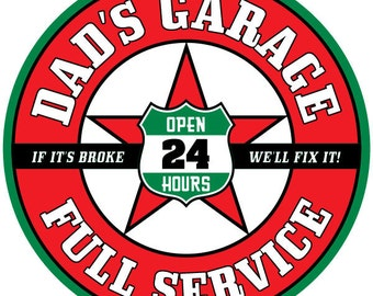 Dads Garage Service Wall Decal Red #45831