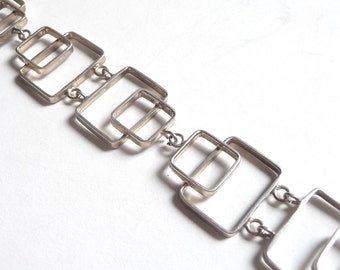 Modernist Sterling Silver Rectangles Bracelet