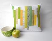 "Green White Yellow Decorative Pillow. Patchwork Quilt Home Decor. Patchwork pillow. 16""x16"" Handmade. Apple decor."