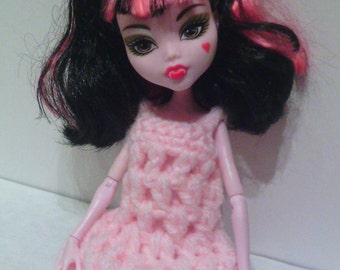 Hand Crocheted to fit a Monster High Doll (this is not a Mattel product), Clothes, Nightgown, Dress, Baby Pink, Cute