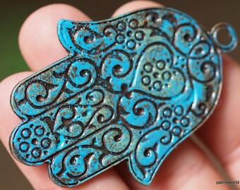 1 psc 59x41  mm Verdigris  Patina Hand of Fatima Hamsa Pendant Charm,Findings