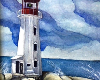 Beautiful Canadian Lighthouse on Wavy Shore