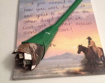 Camo and White Duck Tape Rose Pen Gift for Her