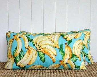 "Blue Banana Lumbar Cushion or Pillow Cover with piping | 60cm x 30cm | 24"" x 12"""