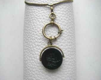 VICTORIAN FOB PENDANT: Antique glass fob pendant. Gold wash1900 pendant. Antique fob.