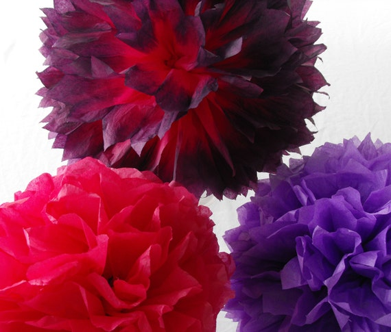 Purple and Boysenberry Poms, Hot Pink and Purple Wedding Decorations, Pink Purple Decorations, Baby Nursery Decor, PInk Purple Shower Decor