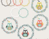 Christmas clipart, Winter clipart, owl clipart, embellishment, digital images for invites, party printables, websites, banners, paper crafts - WhiteCoffeeDesigns
