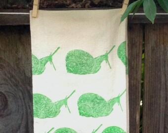 Snails on the Move  Flour Sack Tea Towel