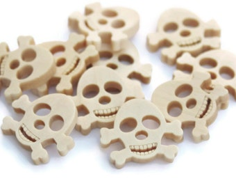 10 Wooden Skull Buttons 19mm x 12mm Boys Character Pirate Buttons - NW12
