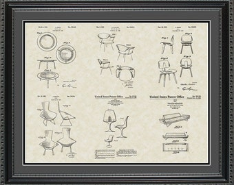 Modern Chairs Patent Collection Eames Furniture Gift PCHIR2024