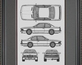 BMW M-Series Blueprint Framed Art Car Auto Gift BBMWM