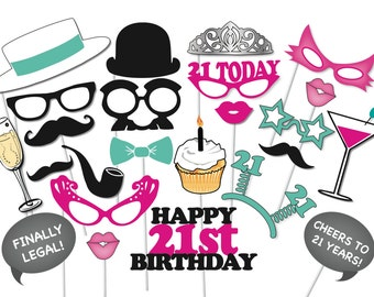 21st Birthday Photobooth Party Props Set - 26 Piece PRINTABLE - twenty First birthday party Photo Booth Props