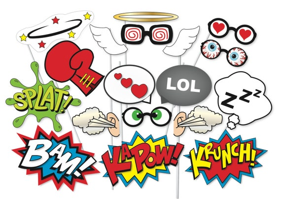 Comic Action Photo Booth Party Props Set 16 Piece Printable