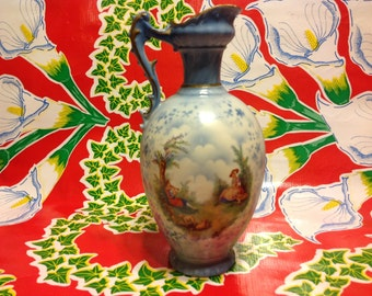 Vintage hand painted pitcher with handle- Czechoslovakia