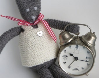 Hand knitted polyester filled toy Miss Rabbit
