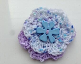 Purple Yarn Brooch, Purple Wool Brooch, White Yarn Brooch, White Wool Brooch, Crocheted Flowers, Flower Brooch, Flower Pin, Flower Jewellery