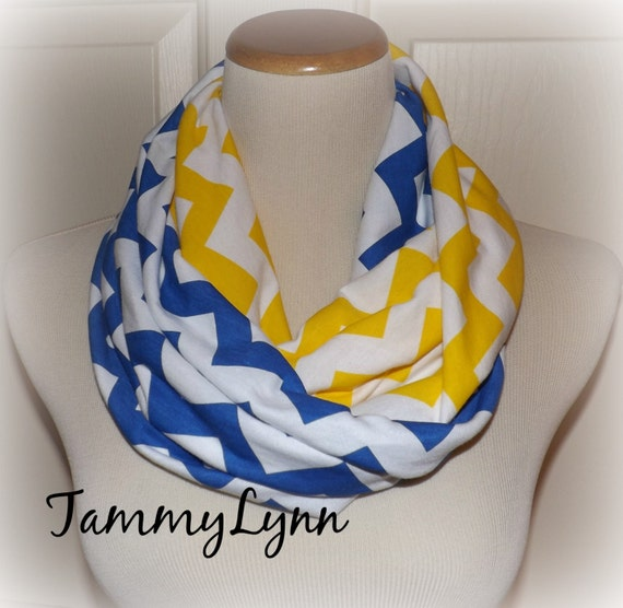 "Royal Blue and Yellow Chevron ""Buddy Walk"" Team Down Syndrome Awareness Scarf Jersey Knit Infinity Tammy Lynns Creations"