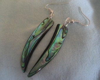 108-Unique Genuine Abalone Shell Dangle Earrings, Abalone Shell Earrings, Dangle Earrings, Abalone, South Sea Abalone Shell