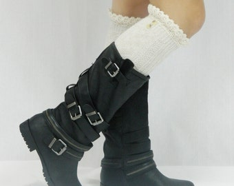 Boot Socks with Lace Top - Cream Tweed