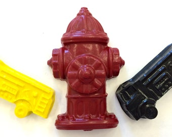 20 sets of 3 Fire Truck Hydrant Crayons  Birthday Party Favors