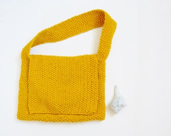 Knitted Shoulder Bag Purse or Ipad Case Mustard Ochre Yellow Shoulder with Inside Pocket