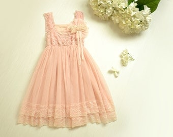 Vintage Pink Lace Girls Dress Flower Girl Bridesmaid Dress Rustic Country Wedding Party Dress