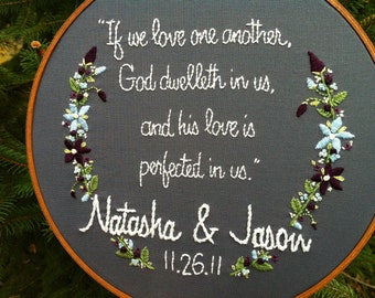 Hand Embroidery. Personalized. Wedding. Anniversary. Couples. Quote. Hoop Art. Wall Art. Custom Art. Wedding Gift. Embroidery Hoop. Love.