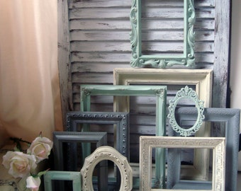mint green and gray painted picture frames made to order set of 10 vintage frames sea - Mint Picture Frames