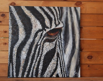 Zebra. Original Large Oil Painting .